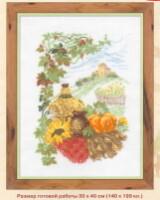 Фрукты, Овощи, Натюрморт.  Вышивка крестиком - Натюрморт с тыквой.  Просмотров: 365 Дата.  13.11.2011.