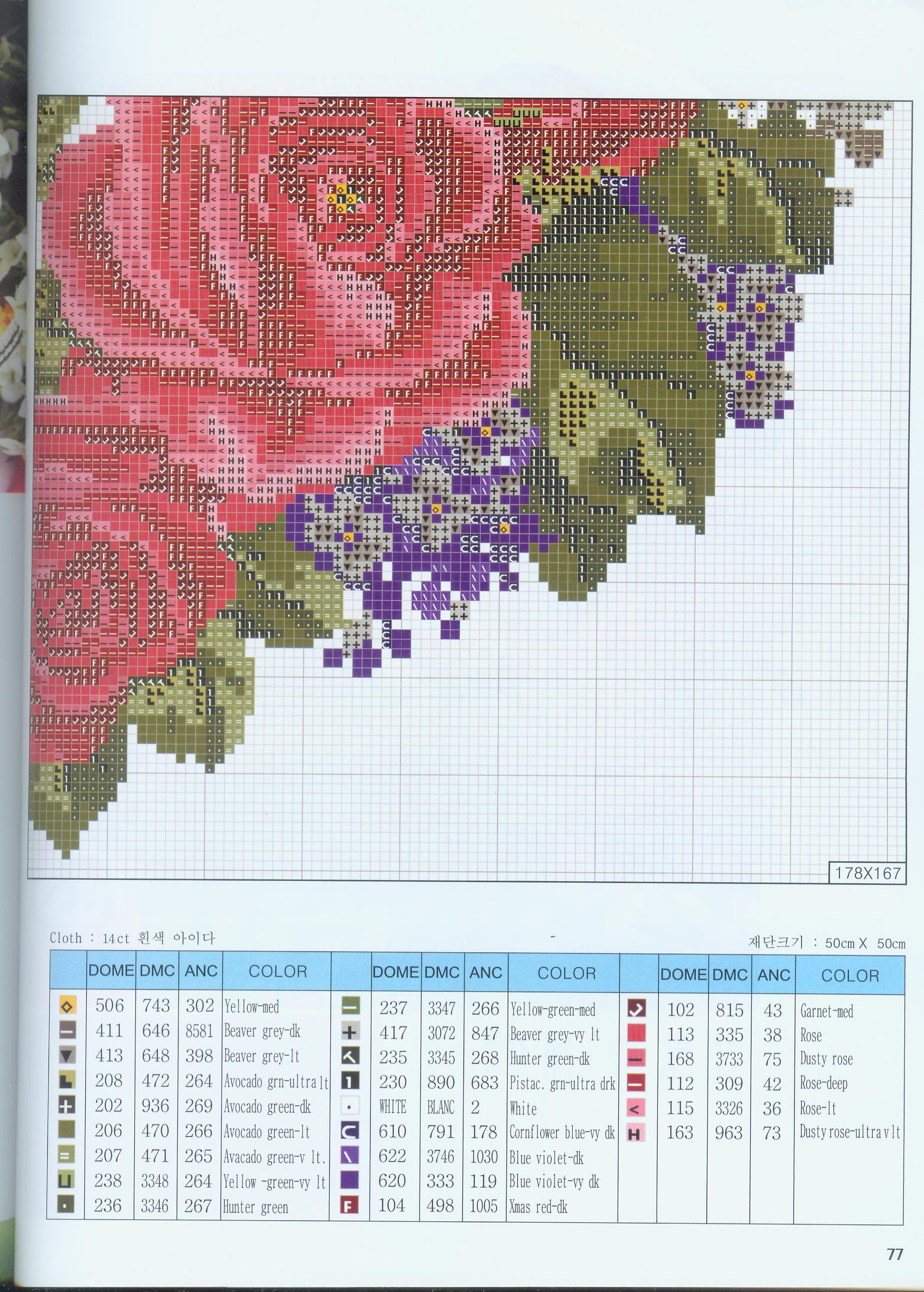 roses for valentines: cross stitch
