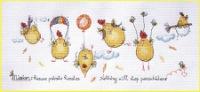 Наталья Млодецкая.  Куриный десант (Chiсkens to the rescue), 38х15, аида 14, счетный крест.